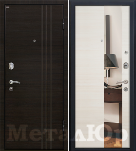 Дверь МеталЮр М15, эшвайт кроскут, зеркало