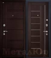 Дверь МеталЮр М17, венге мелинга, матовое стекло
