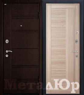 Дверь МеталЮр М17, капучино мелинга, матовое стекло
