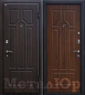 Дверь МеталЮр М5, темный орех