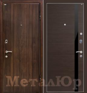 Дверь МеталЮр М6, венге кроскут - черный лак