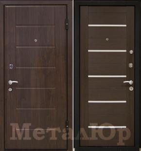 Дверь МеталЮр М7, венге мелинга, белое стекло