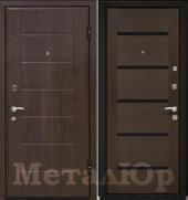 Дверь МеталЮр М7, венге мелинга, чёрное стекло