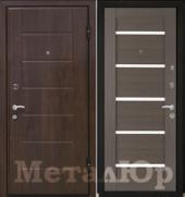 Дверь МеталЮр М7, грей мелинга, белое стекло