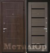 Дверь МеталЮр М7, грей мелинга, чёрное стекло