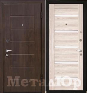 Дверь МеталЮр М7, капучино мелинга, белое стекло