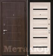 Дверь МеталЮр М7, капучино мелинга, чёрное стекло
