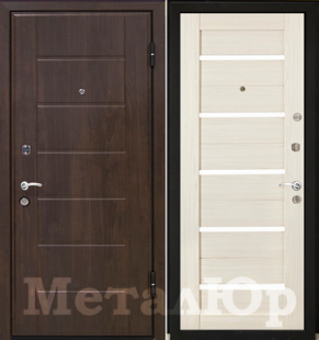 Дверь МеталЮр М7, эшвайт мелинга, белое стекло
