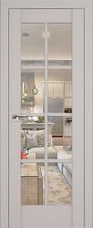 Дверь 101X Пекан белый, прозрачное